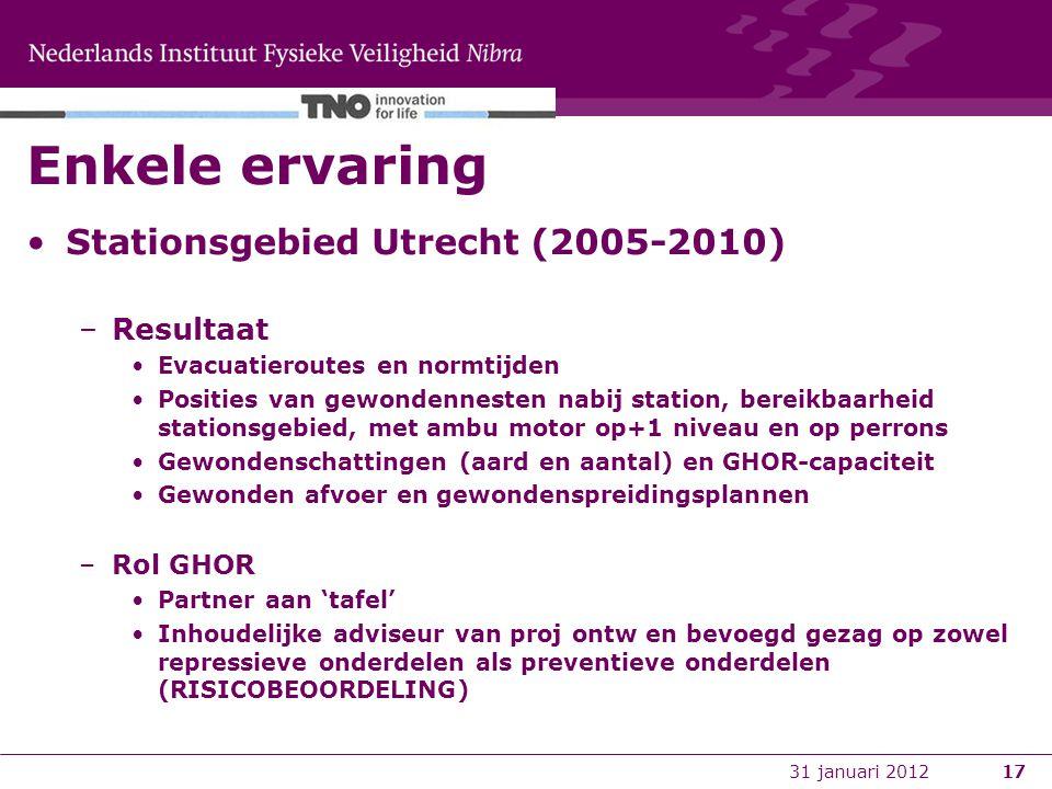 17 Enkele ervaring Stationsgebied Utrecht (2005-2010) –Resultaat Evacuatieroutes en normtijden Posities van gewondennesten nabij station, bereikbaarheid stationsgebied, met ambu motor op+1 niveau en op perrons Gewondenschattingen (aard en aantal) en GHOR-capaciteit Gewonden afvoer en gewondenspreidingsplannen –Rol GHOR Partner aan 'tafel' Inhoudelijke adviseur van proj ontw en bevoegd gezag op zowel repressieve onderdelen als preventieve onderdelen (RISICOBEOORDELING) 31 januari 2012