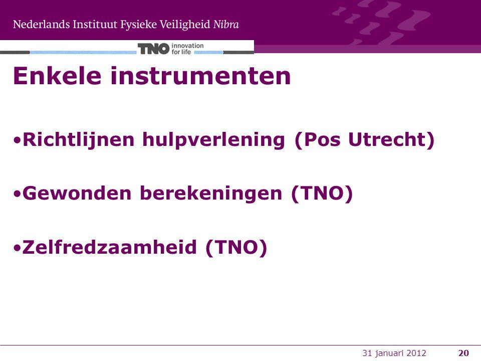 20 Enkele instrumenten Richtlijnen hulpverlening (Pos Utrecht) Gewonden berekeningen (TNO) Zelfredzaamheid (TNO) 31 januari 2012