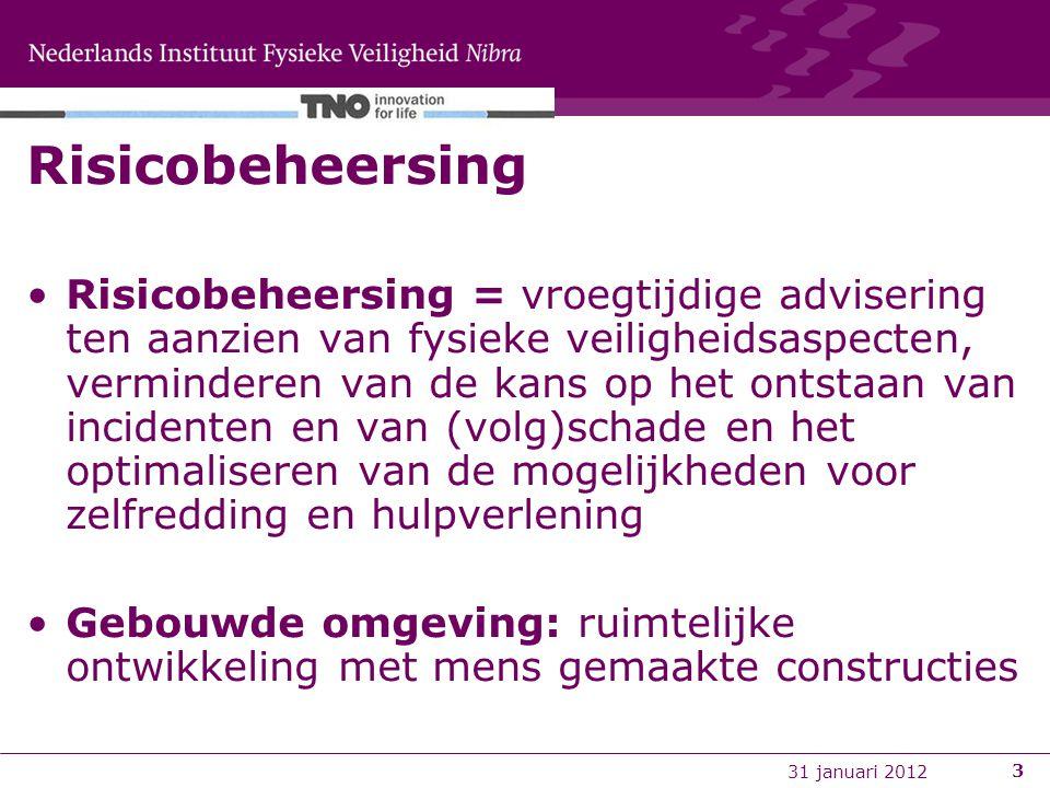 9 november 20113 Risicobeheersing Risicobeheersing = vroegtijdige advisering ten aanzien van fysieke veiligheidsaspecten, verminderen van de kans op h