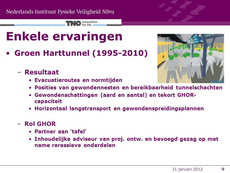 9 Enkele ervaringen Groen Harttunnel (1995-2010) –Resultaat Evacuatieroutes en normtijden Posities van gewondennesten en bereikbaarheid tunnelschachten Gewondenschattingen (aard en aantal) en tekort GHOR- capaciteit Horizontaal langstransport en gewondenspreidingsplannen –Rol GHOR Partner aan 'tafel' Inhoudelijke adviseur van proj.