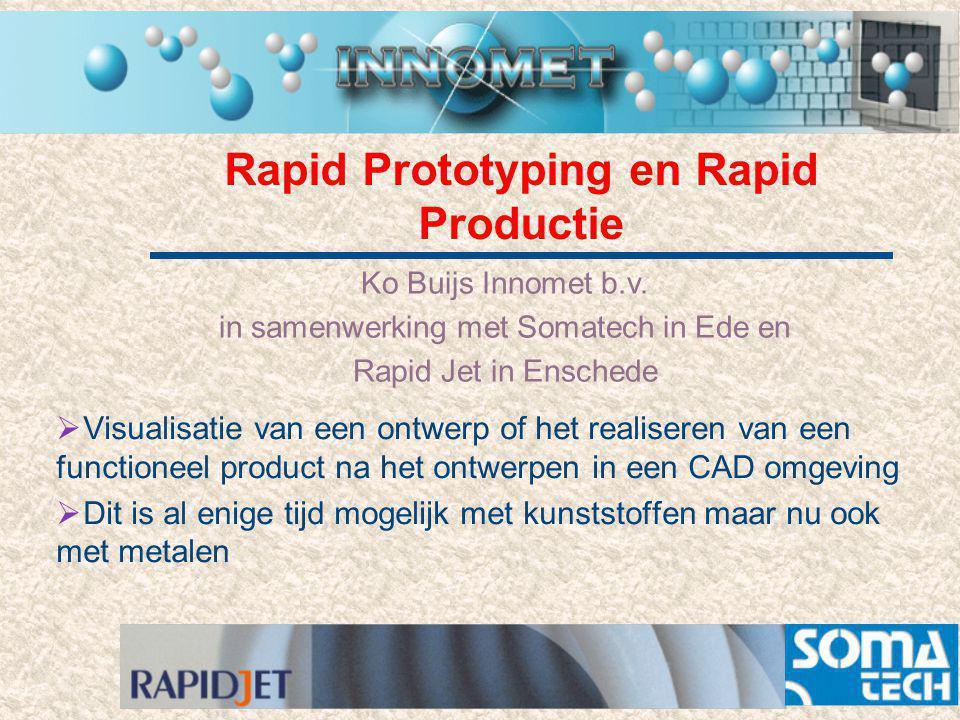 Rapid Prototyping en Rapid Productie Ko Buijs Innomet b.v. in samenwerking met Somatech in Ede en Rapid Jet in Enschede  Visualisatie van een ontwerp