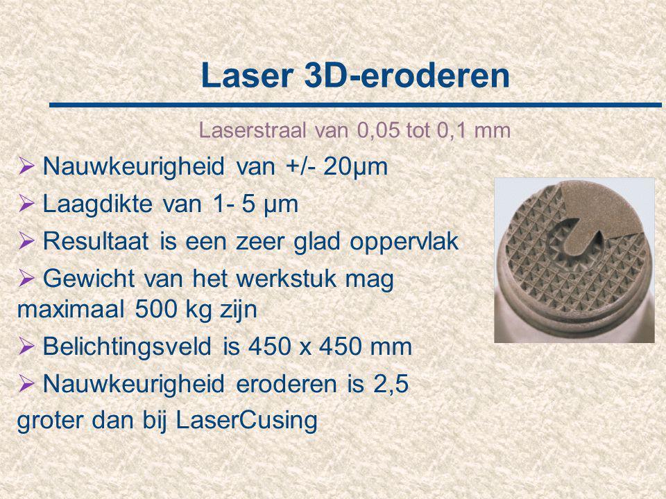 Laser 3D-eroderen Laserstraal van 0,05 tot 0,1 mm  Nauwkeurigheid van +/- 20µm  Laagdikte van 1- 5 µm  Resultaat is een zeer glad oppervlak  Gewic