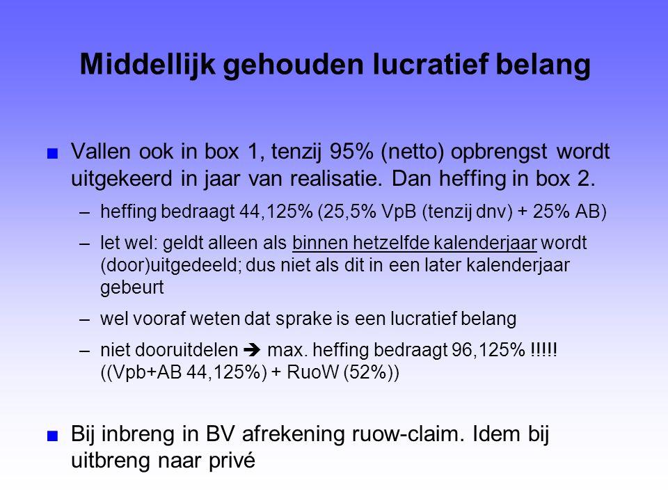 Middellijk gehouden lucratief belang ■Vallen ook in box 1, tenzij 95% (netto) opbrengst wordt uitgekeerd in jaar van realisatie. Dan heffing in box 2.
