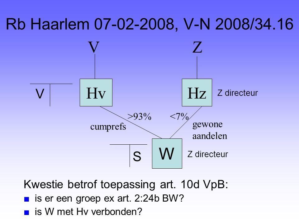Rb Haarlem 07-02-2008, V-N 2008/34.16 HvHz ZV cumprefs <7% gewone aandelen W >93% V S Kwestie betrof toepassing art. 10d VpB: ■is er een groep ex art.