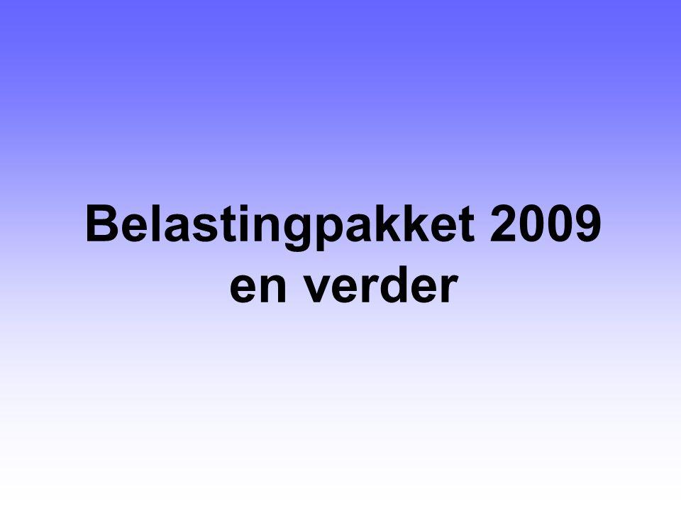 ■Herinzetting € 475 miljoen groepsrentebox voor 2008: –één MKB-tarief van 20% over winst tot en met € 275.000 ■Herinzetting groepsrenteboxgelden 2009 en 2010: –voor 2009 en 2010 wederom één MKB-tarief van 20% over winst tot en met € 200.000 –Willekeurige of vervroegde afschrijvingen: 50% afschrijven in 2009 en 50% in 2010 alle bedrijfsmiddelen muv woningen, bedrijfsgebouwen, grond-, weg- en waterbouwkundige werken, personenauto's, immateriële vaste activa (w.o.