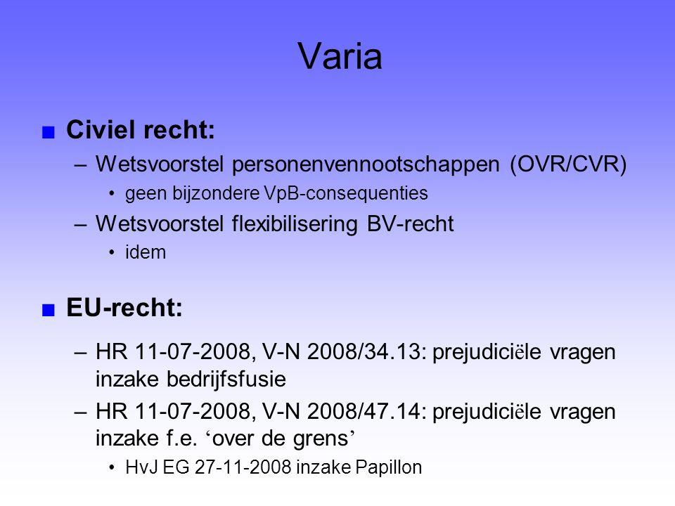 Varia ■Civiel recht: –Wetsvoorstel personenvennootschappen (OVR/CVR) geen bijzondere VpB-consequenties –Wetsvoorstel flexibilisering BV-recht idem ■EU