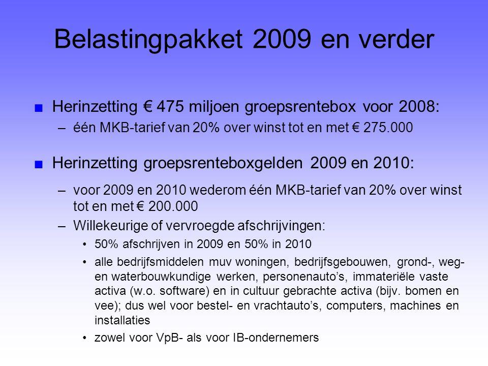 Belastingpakket 2009 ■Defiscalisering vermogensoverheveling woco's ■Versoepelingen beleggingsregimes: –VBI: voortaan ook beleggen in banktegoeden (spaarrekeningen en deposito's) –FBI: indirecte beleggingen in vastgoed ■Aftrekbeperking SAR's –geldt voor werknemers met loon van meer dan € 500.000 –overgangsregeling voor op 1-1-2009 bestaande SAR-regelingen ■(Nog) geen voorstellen mbt renteaftrek
