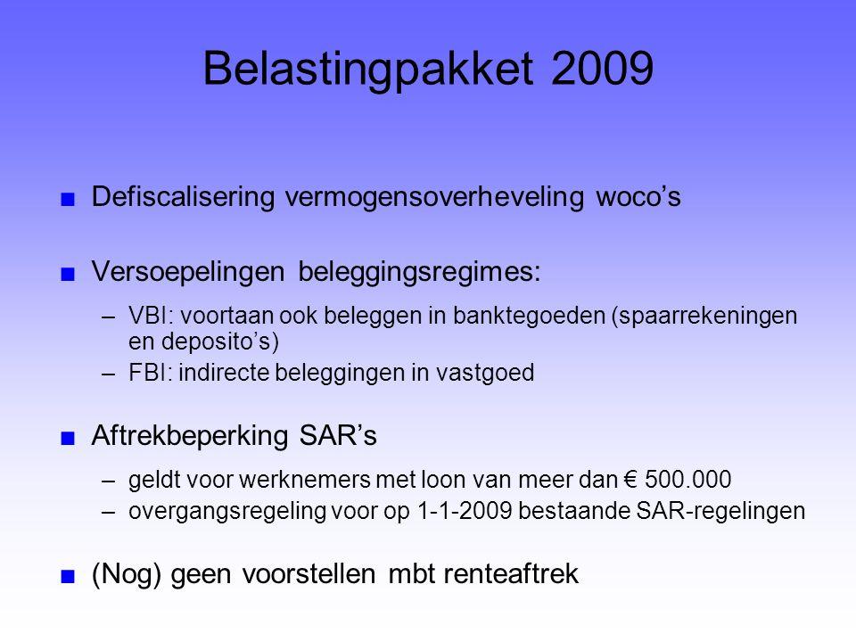 Belastingpakket 2009 ■Defiscalisering vermogensoverheveling woco's ■Versoepelingen beleggingsregimes: –VBI: voortaan ook beleggen in banktegoeden (spa