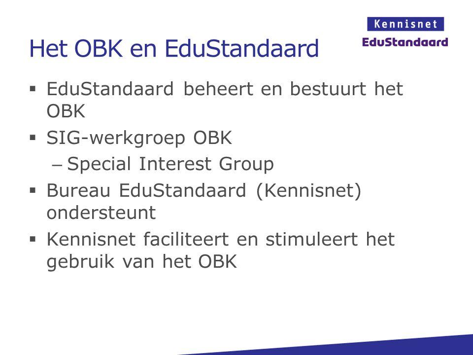 Het OBK en EduStandaard  EduStandaard beheert en bestuurt het OBK  SIG-werkgroep OBK – Special Interest Group  Bureau EduStandaard (Kennisnet) onde