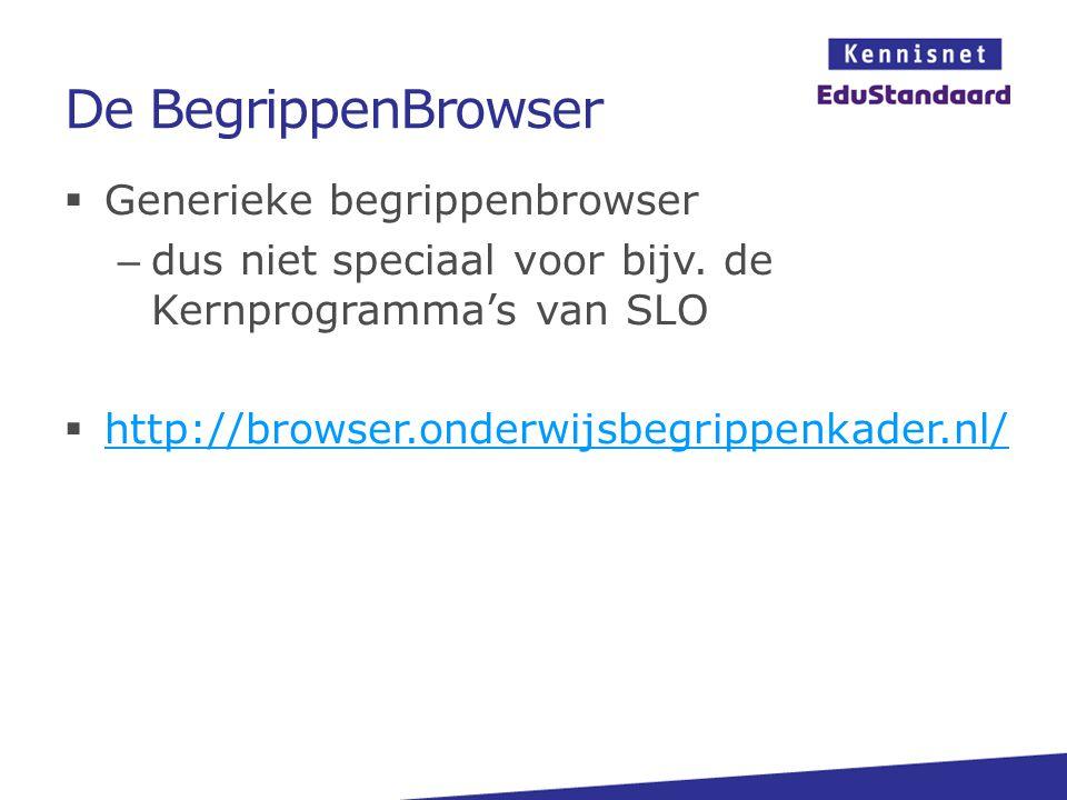 De BegrippenBrowser  Generieke begrippenbrowser – dus niet speciaal voor bijv. de Kernprogramma's van SLO  http://browser.onderwijsbegrippenkader.nl