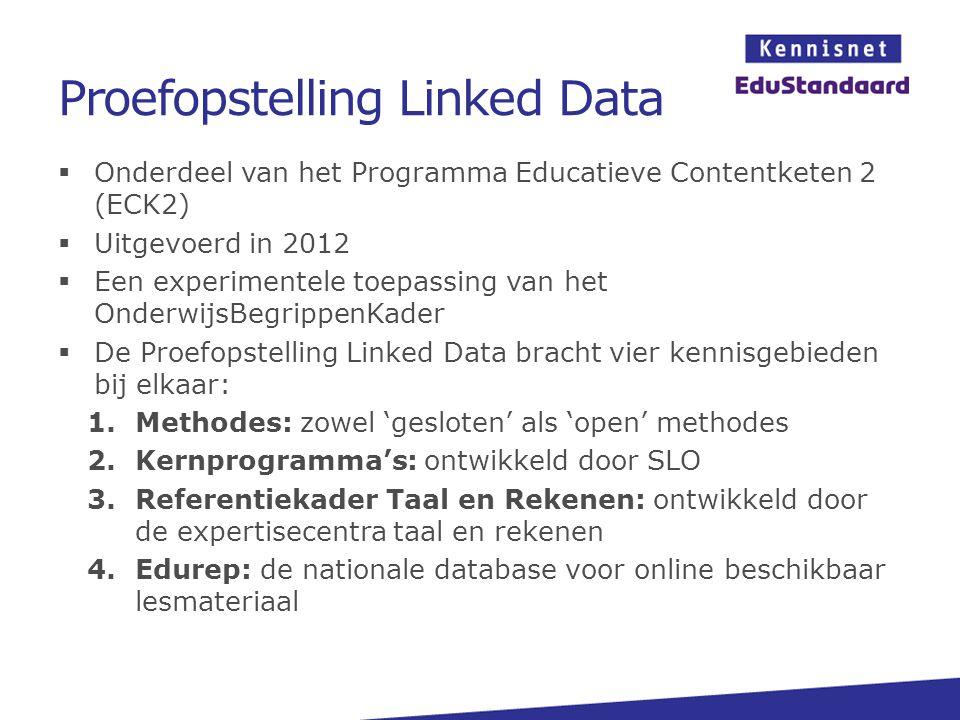 Proefopstelling Linked Data  Onderdeel van het Programma Educatieve Contentketen 2 (ECK2)  Uitgevoerd in 2012  Een experimentele toepassing van het