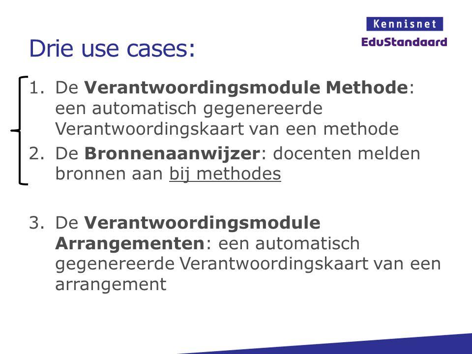 Drie use cases: 1.De Verantwoordingsmodule Methode: een automatisch gegenereerde Verantwoordingskaart van een methode 2.De Bronnenaanwijzer: docenten