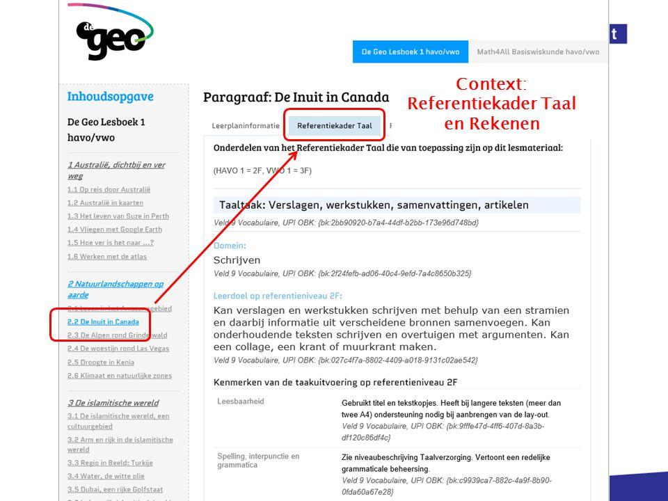 Context: Referentiekader Taal en Rekenen