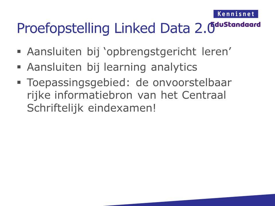 Proefopstelling Linked Data 2.0  Aansluiten bij 'opbrengstgericht leren'  Aansluiten bij learning analytics  Toepassingsgebied: de onvoorstelbaar r