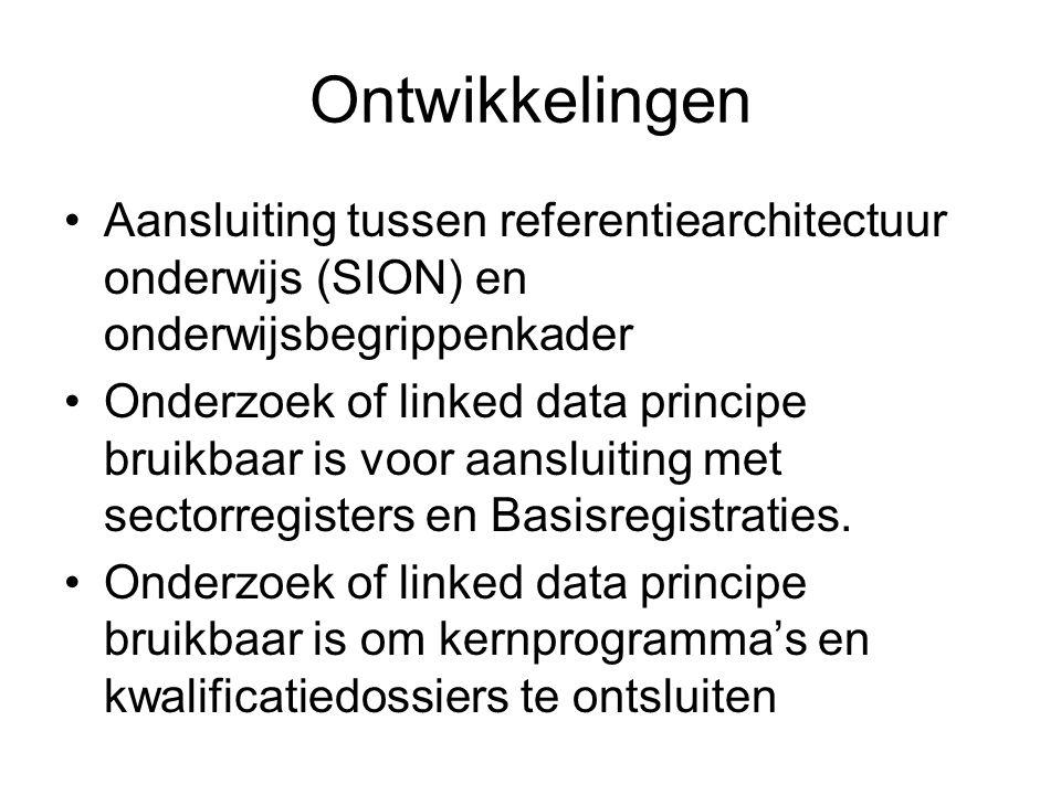 Ontwikkelingen Aansluiting tussen referentiearchitectuur onderwijs (SION) en onderwijsbegrippenkader Onderzoek of linked data principe bruikbaar is vo