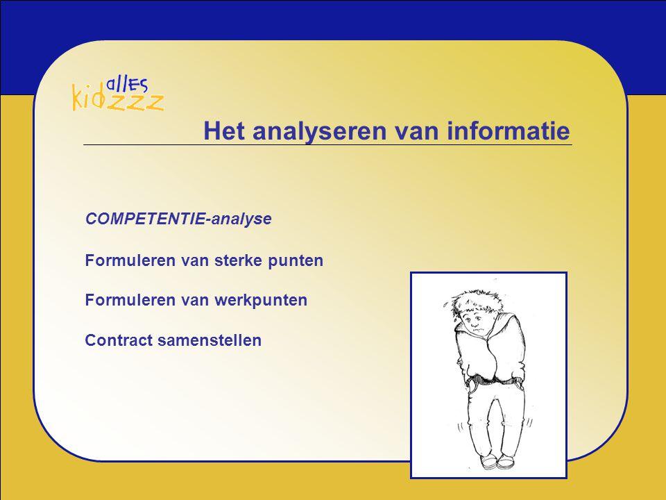 Het analyseren van informatie COMPETENTIE-analyse Formuleren van sterke punten Formuleren van werkpunten Contract samenstellen