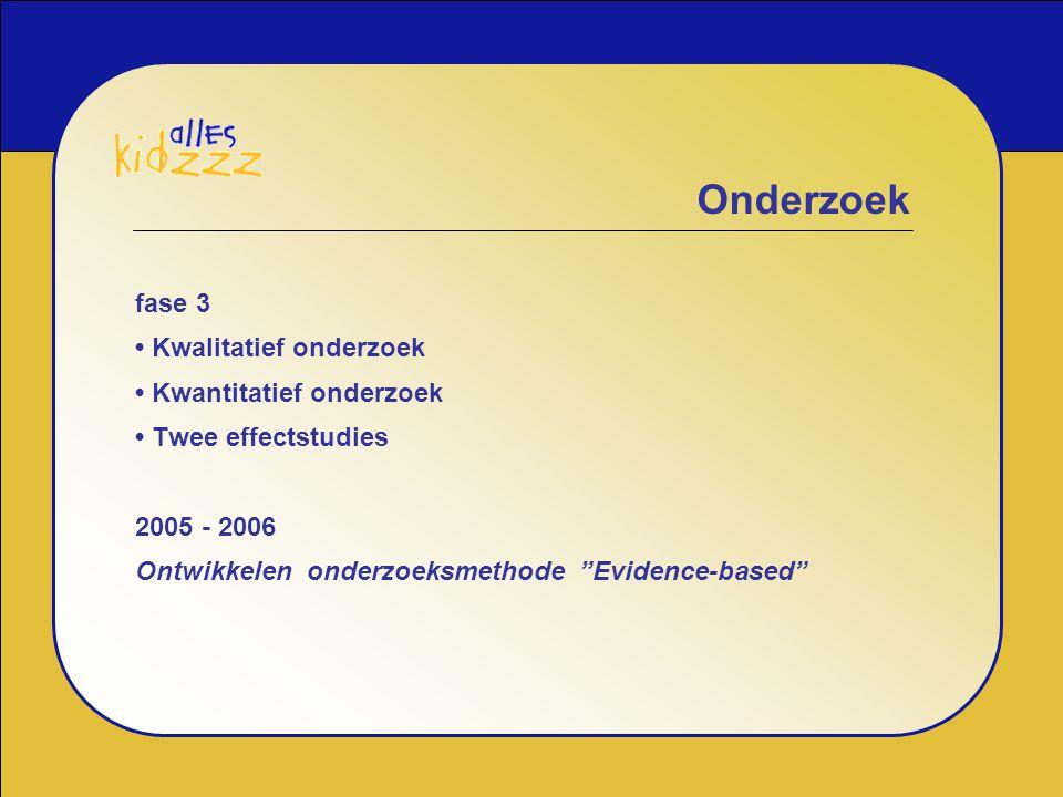 """fase 3 Kwalitatief onderzoek Kwantitatief onderzoek Twee effectstudies 2005 - 2006 Ontwikkelen onderzoeksmethode """"Evidence-based"""" Onderzoek"""