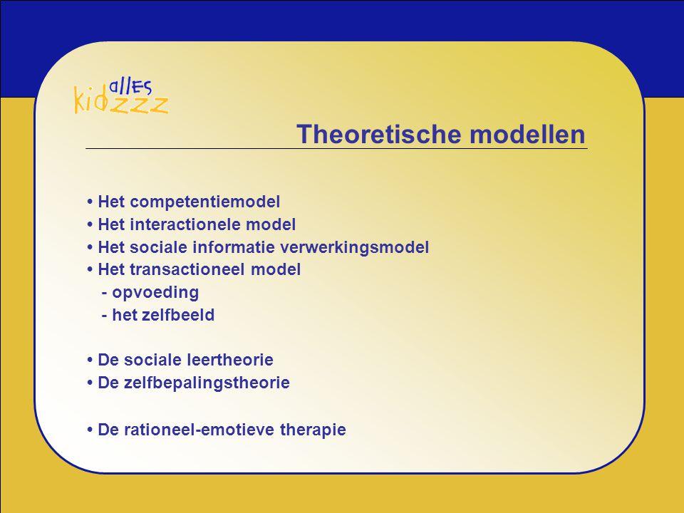 Theoretische modellen Het competentiemodel Het interactionele model Het sociale informatie verwerkingsmodel Het transactioneel model - opvoeding - het