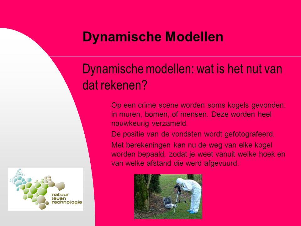 Dynamische Modellen Dynamische modellen: wat is het nut van dat rekenen? Op een crime scene worden soms kogels gevonden: in muren, bomen, of mensen. D