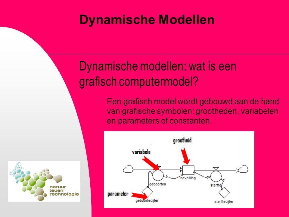 Dynamische Modellen Dynamische modellen: wat is een grafisch computermodel? Een grafisch model wordt gebouwd aan de hand van grafische symbolen: groot