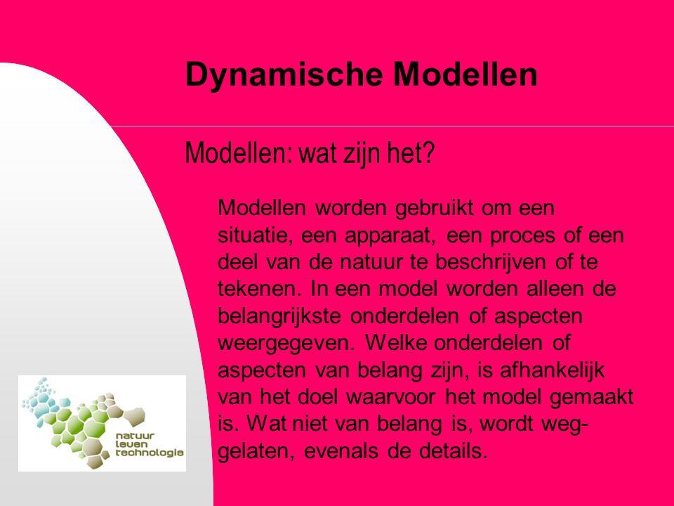 Dynamische Modellen Modellen: wat zijn het? Modellen worden gebruikt om een situatie, een apparaat, een proces of een deel van de natuur te beschrijve