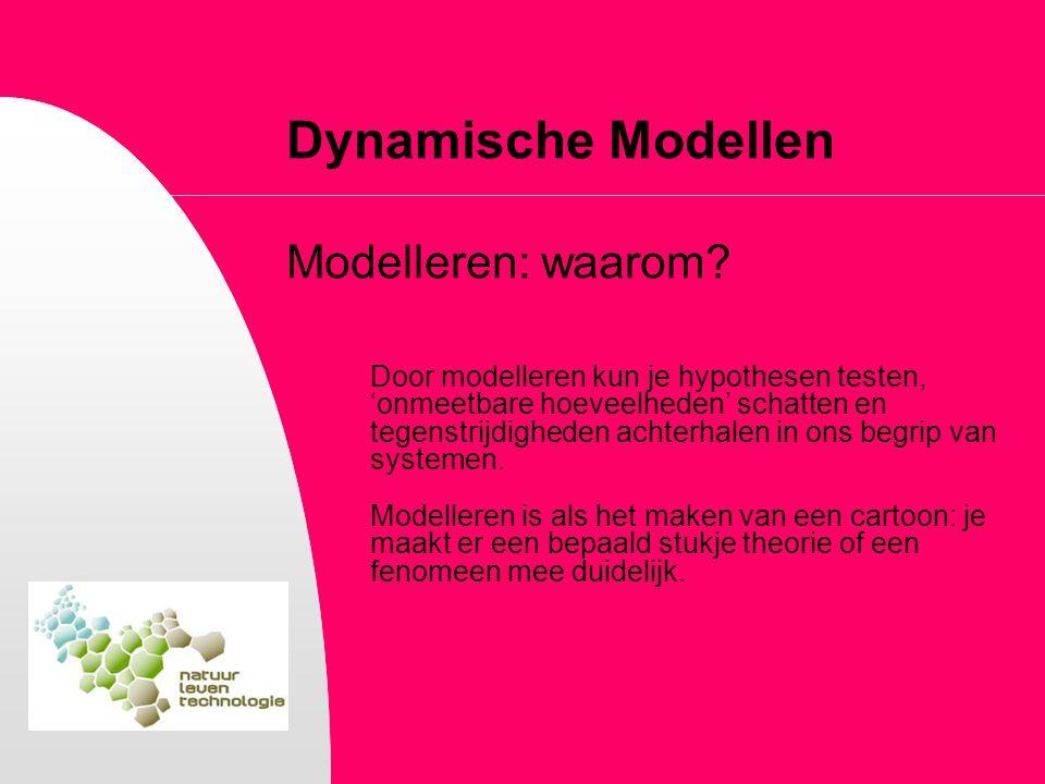 Dynamische Modellen Modelleren: waarom? Door modelleren kun je hypothesen testen, 'onmeetbare hoeveelheden' schatten en tegenstrijdigheden achterhalen