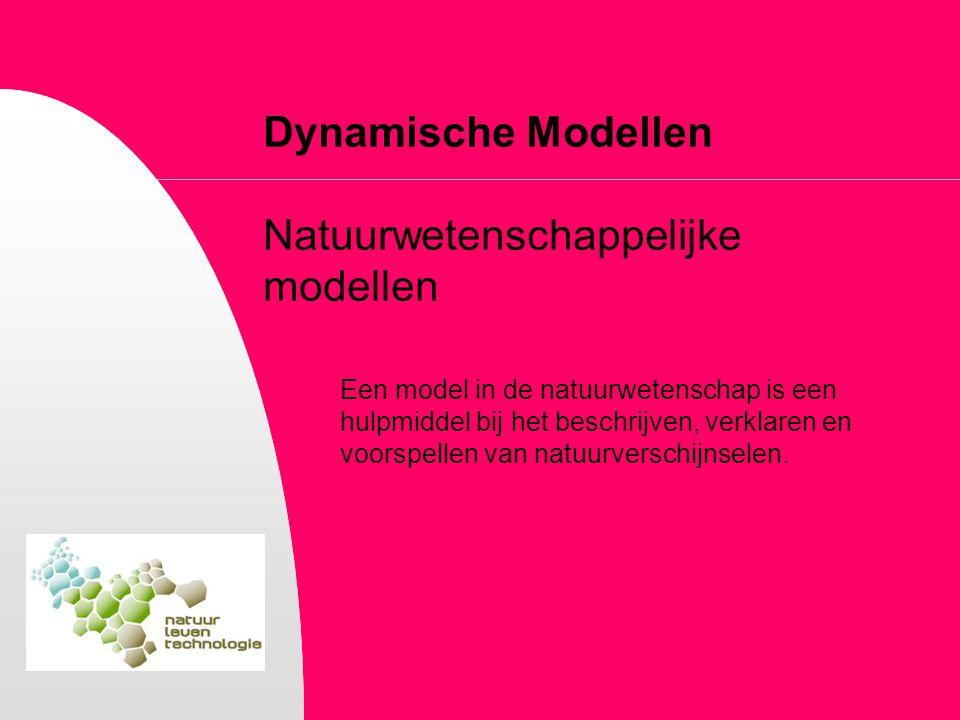 Dynamische Modellen Natuurwetenschappelijke modellen Een model in de natuurwetenschap is een hulpmiddel bij het beschrijven, verklaren en voorspellen