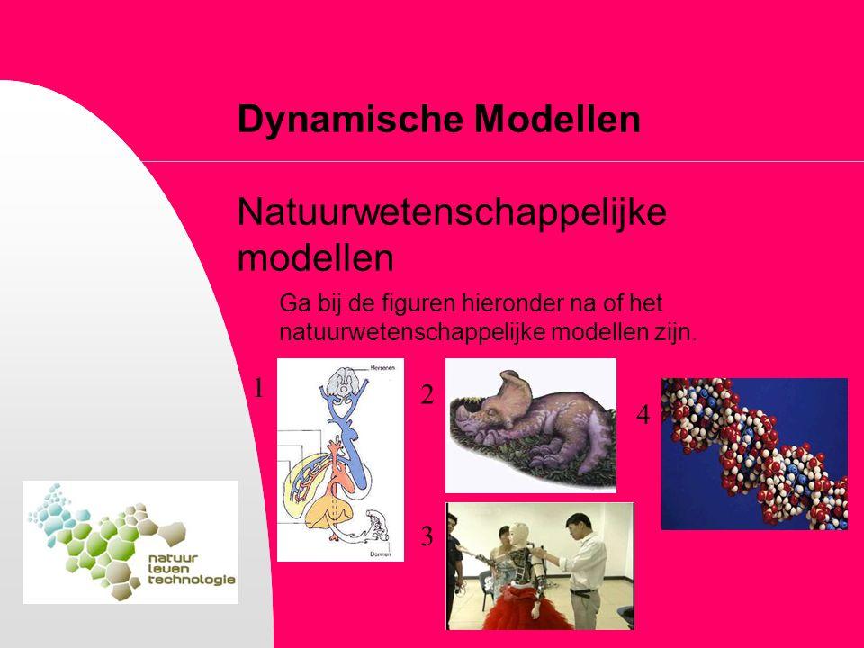 Dynamische Modellen Natuurwetenschappelijke modellen Ga bij de figuren hieronder na of het natuurwetenschappelijke modellen zijn. 1 2 3 4