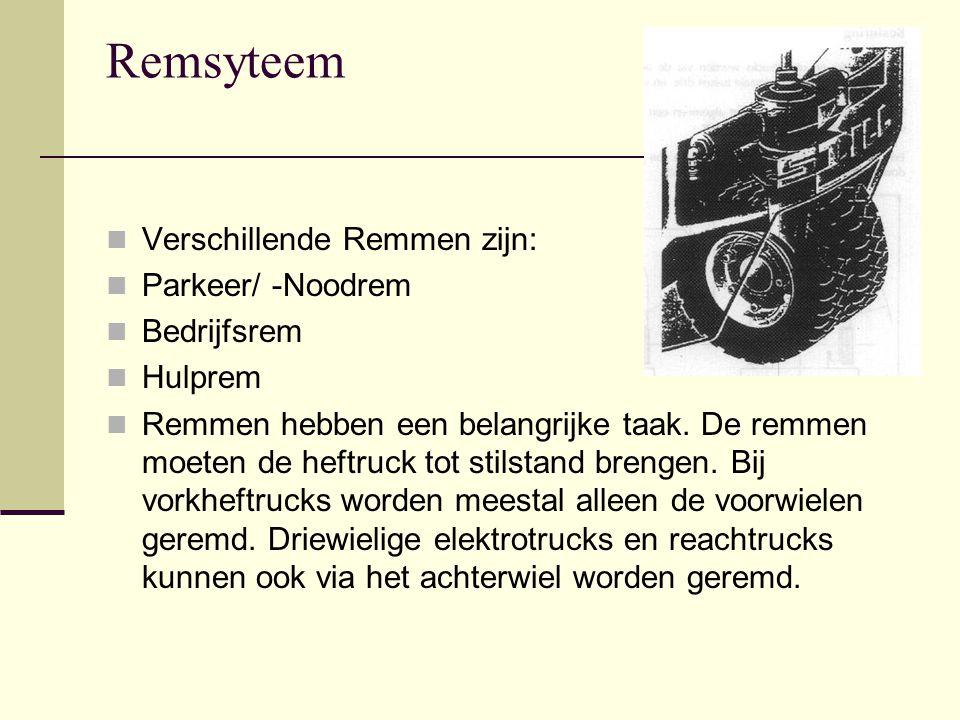 Remsyteem Verschillende Remmen zijn: Parkeer/ -Noodrem Bedrijfsrem Hulprem Remmen hebben een belangrijke taak.