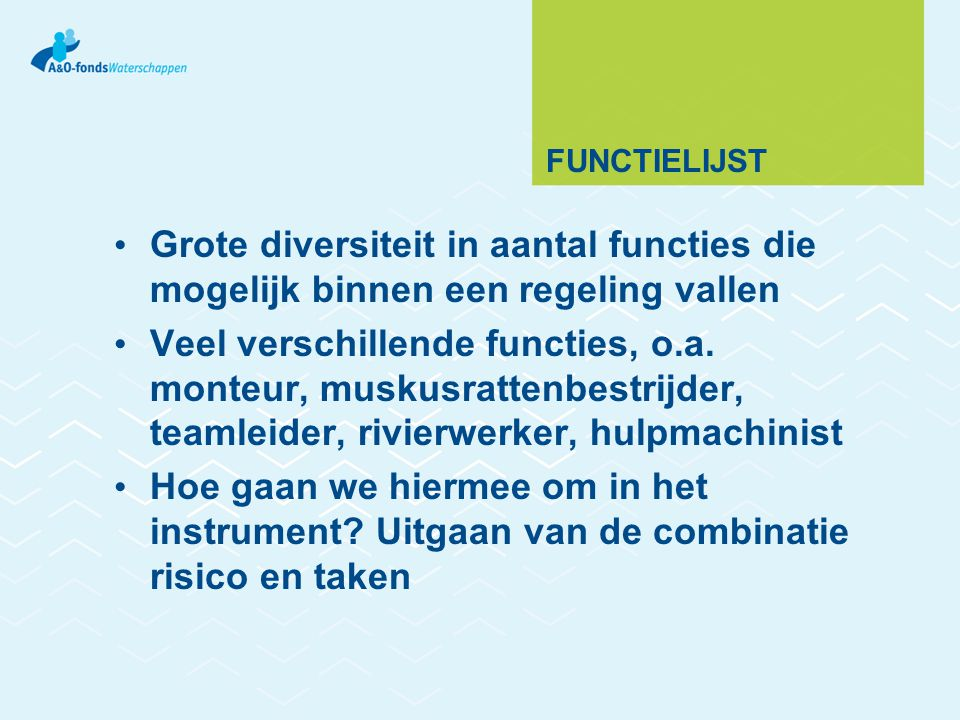 FUNCTIELIJST Grote diversiteit in aantal functies die mogelijk binnen een regeling vallen Veel verschillende functies, o.a.