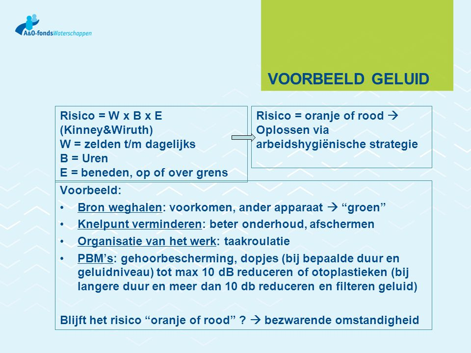 VOORBEELD GELUID Voorbeeld: Bron weghalen: voorkomen, ander apparaat  groen Knelpunt verminderen: beter onderhoud, afschermen Organisatie van het werk: taakroulatie PBM's: gehoorbescherming, dopjes (bij bepaalde duur en geluidniveau) tot max 10 dB reduceren of otoplastieken (bij langere duur en meer dan 10 db reduceren en filteren geluid) Blijft het risico oranje of rood .