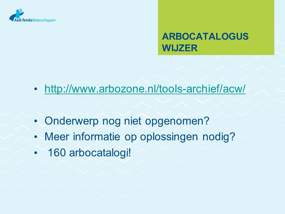 ARBOCATALOGUS WIJZER http://www.arbozone.nl/tools-archief/acw/ Onderwerp nog niet opgenomen.