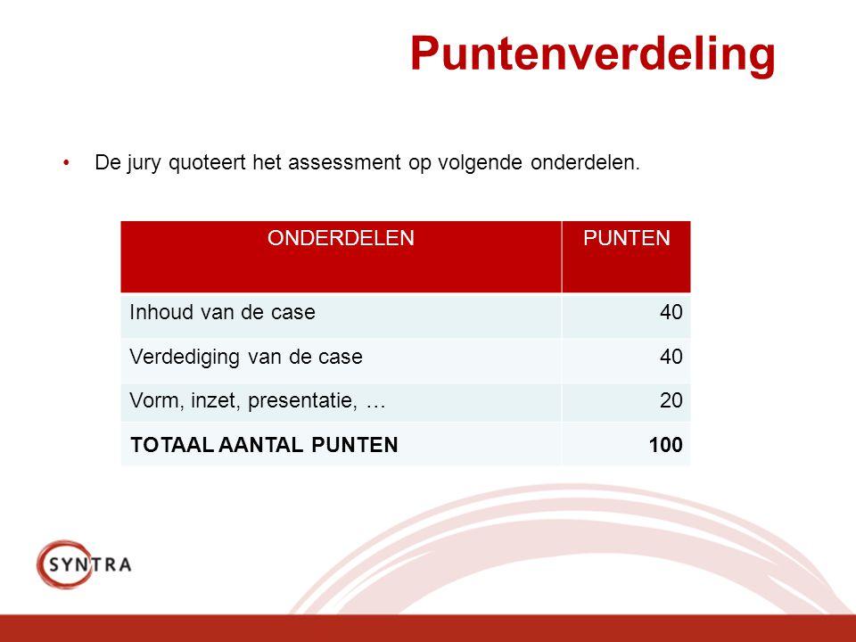Puntenverdeling De jury quoteert het assessment op volgende onderdelen. ONDERDELENPUNTEN Inhoud van de case40 Verdediging van de case40 Vorm, inzet, p