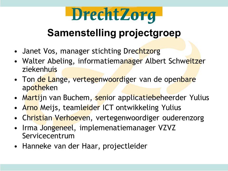 Samenstelling projectgroep Janet Vos, manager stichting Drechtzorg Walter Abeling, informatiemanager Albert Schweitzer ziekenhuis Ton de Lange, verteg