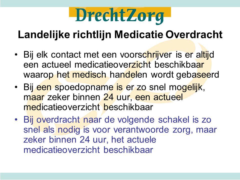 Landelijke richtlijn Medicatie Overdracht Bij elk contact met een voorschrijver is er altijd een actueel medicatieoverzicht beschikbaar waarop het med