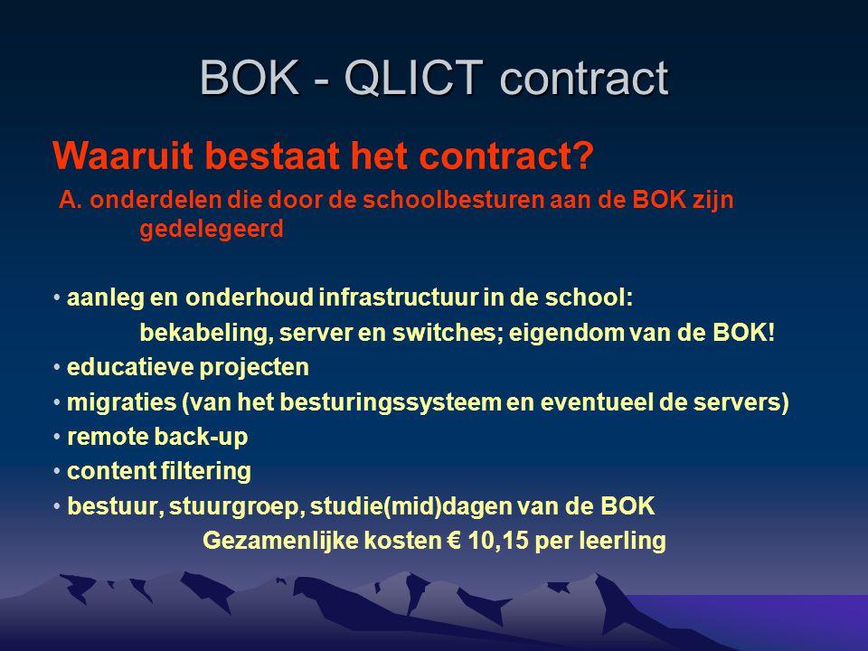 BOK - QLICT contract Waaruit bestaat het contract? A. onderdelen die door de schoolbesturen aan de BOK zijn gedelegeerd aanleg en onderhoud infrastruc