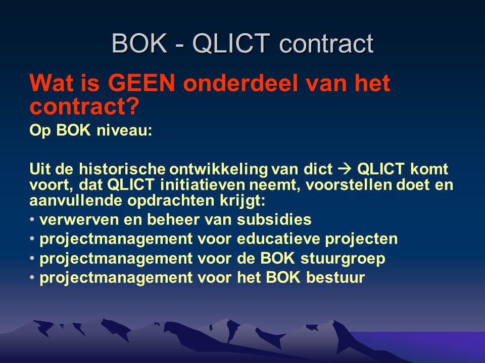 BOK - QLICT contract Wat is GEEN onderdeel van het contract? Op BOK niveau: Uit de historische ontwikkeling van dict  QLICT komt voort, dat QLICT ini