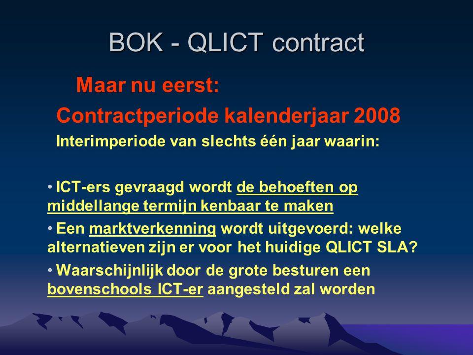 BOK - QLICT contract Maar nu eerst: Contractperiode kalenderjaar 2008 Interimperiode van slechts één jaar waarin: ICT-ers gevraagd wordt de behoeften