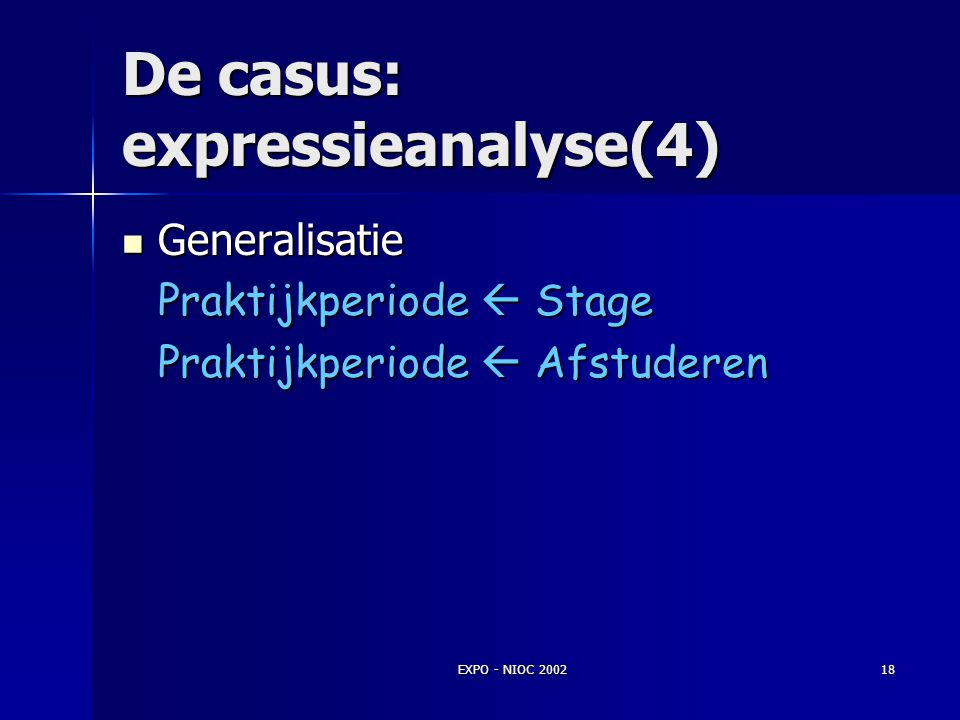 EXPO - NIOC 200217 De casus: expressieanalyse(3) Concrete expressies Concrete expressies Het afstuderen van Student 125426 begint op 12-1-2002. Typeri