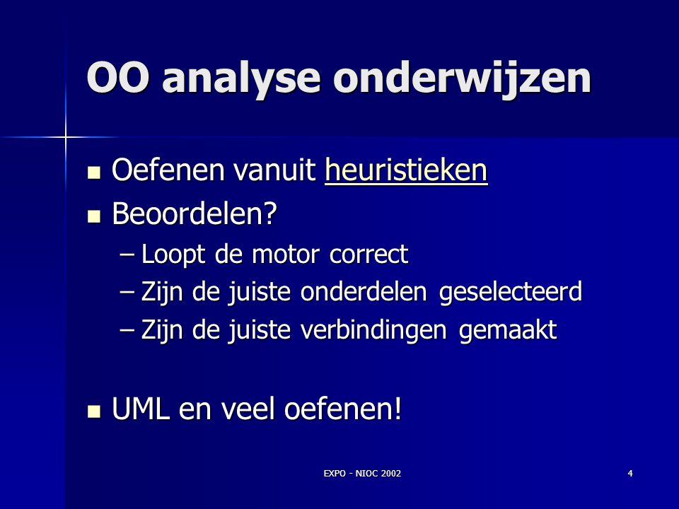 EXPO - NIOC 20023 OO analyse OMT, OOA/OOD, Booch, Jacobson OMT, OOA/OOD, Booch, Jacobson Voortdurende onzekerheid Voortdurende onzekerheid Welke motor
