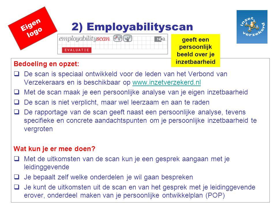 Eigen logo 2) Employabilityscan Bedoeling en opzet:  De scan is speciaal ontwikkeld voor de leden van het Verbond van Verzekeraars en is beschikbaar