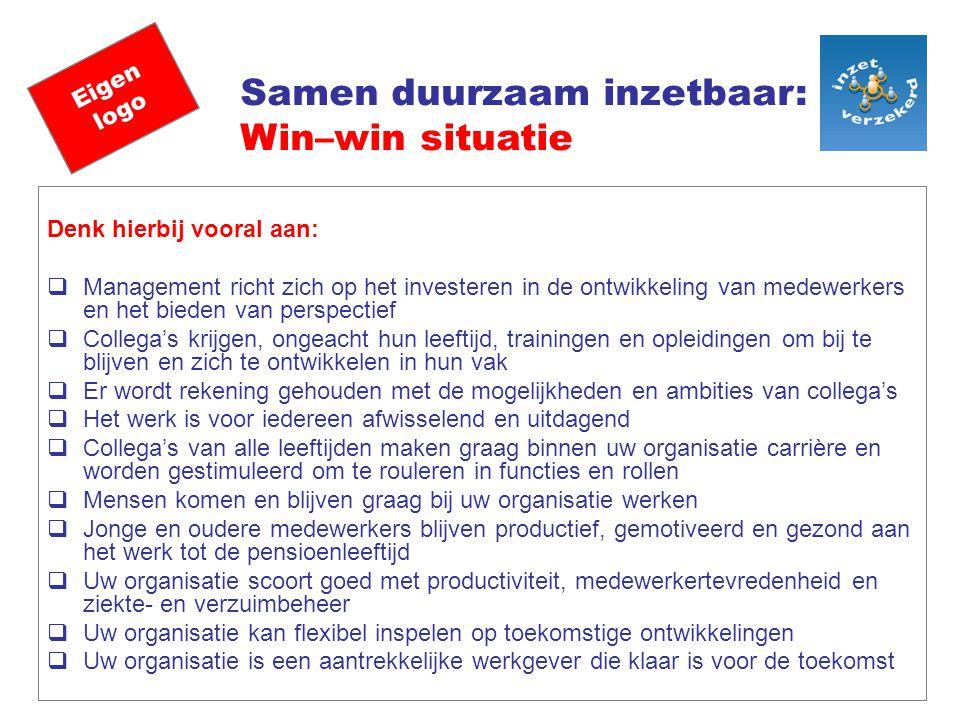 Eigen logo Samen duurzaam inzetbaar: Win–win situatie Denk hierbij vooral aan:  Management richt zich op het investeren in de ontwikkeling van medewe