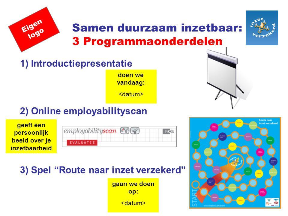 Eigen logo Samen duurzaam inzetbaar: 3 Programmaonderdelen 1) Introductiepresentatie 2) Online employabilityscan 3) Spel Route naar inzet verzekerd doen we vandaag: gaan we doen op: geeft een persoonlijk beeld over je inzetbaarheid