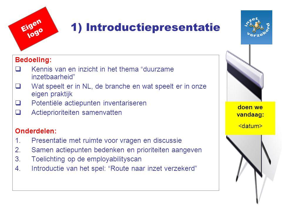 Eigen logo 1) Introductiepresentatie Bedoeling:  Kennis van en inzicht in het thema duurzame inzetbaarheid  Wat speelt er in NL, de branche en wat speelt er in onze eigen praktijk  Potentiële actiepunten inventariseren  Actieprioriteiten samenvatten Onderdelen: 1.Presentatie met ruimte voor vragen en discussie 2.Samen actiepunten bedenken en prioriteiten aangeven 3.Toelichting op de employabilityscan 4.Introductie van het spel: Route naar inzet verzekerd doen we vandaag: