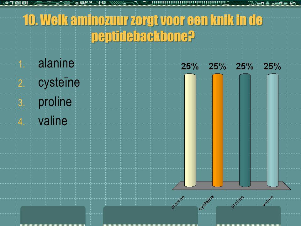 10. Welk aminozuur zorgt voor een knik in de peptidebackbone? 1. alanine 2. cysteïne 3. proline 4. valine