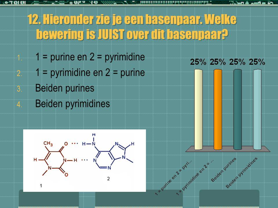 12. Hieronder zie je een basenpaar. Welke bewering is JUIST over dit basenpaar? 1. 1 = purine en 2 = pyrimidine 2. 1 = pyrimidine en 2 = purine 3. Bei