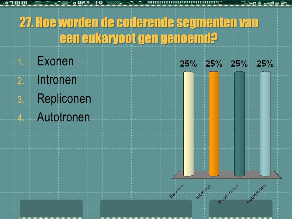 27. Hoe worden de coderende segmenten van een eukaryoot gen genoemd? 1. Exonen 2. Intronen 3. Repliconen 4. Autotronen