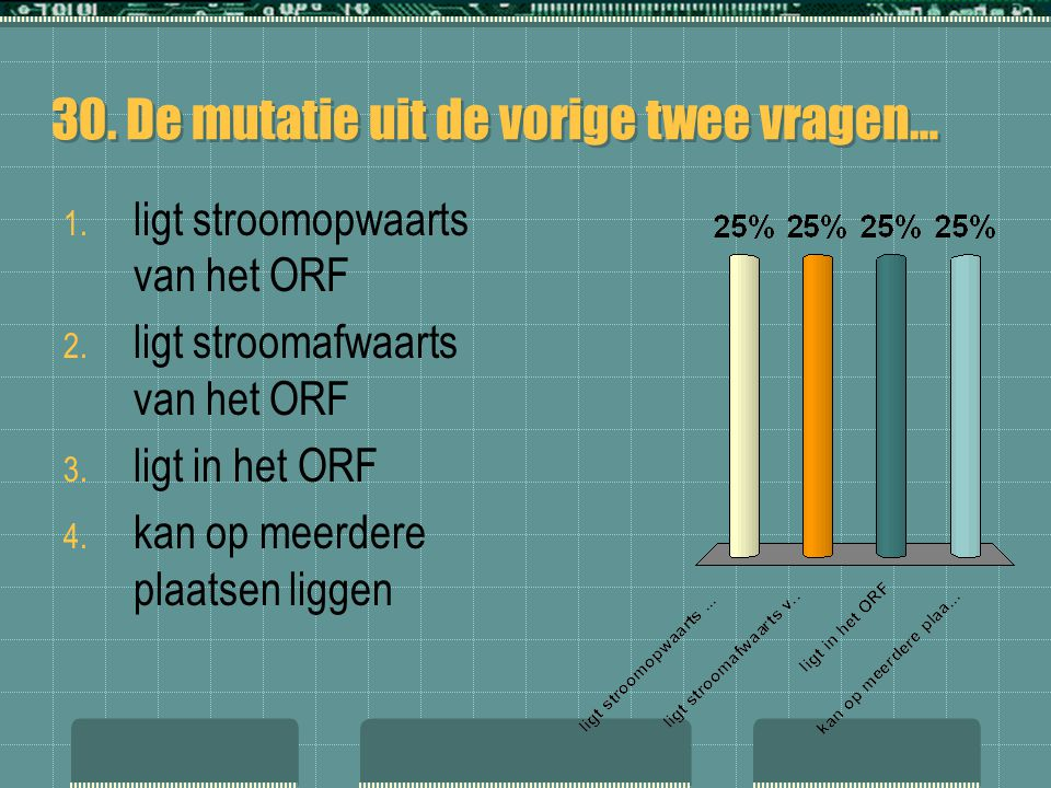 30. De mutatie uit de vorige twee vragen… 1. ligt stroomopwaarts van het ORF 2. ligt stroomafwaarts van het ORF 3. ligt in het ORF 4. kan op meerdere
