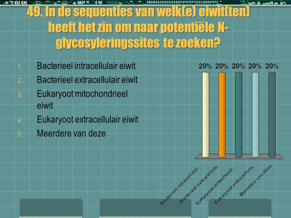 49. In de sequenties van welk(e) eiwit(ten) heeft het zin om naar potentiële N- glycosyleringssites te zoeken? 1. Bacterieel intracellulair eiwit 2. B