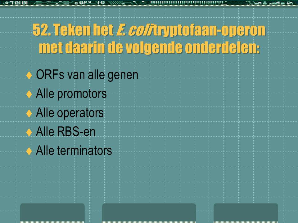 52. Teken het E. coli tryptofaan-operon met daarin de volgende onderdelen:  ORFs van alle genen  Alle promotors  Alle operators  Alle RBS-en  All